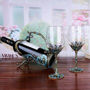 Luxurious Enamel Lead Free Crystal Glass Wine Decanters Set Home Bar Tools