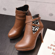 Sexy Ladies Ankle Boots Fashion High Heel Side Zipper Boots With Buckle Decoration