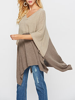 Knitted Two-tone V-neck Mid-length Sweaters