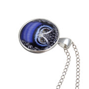 Owl Glass Cabochon Pendant Silver Plated Necklace