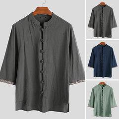 Mens Chinese Style Plain 100% Baumwolle Halbarm Plus Größe Stehkragen Shirt