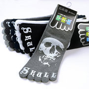 Mens Cotton Casual Five Toes Socks Skeleton Chinese Dragon Cartoon demon Skull Paw Finger Socks