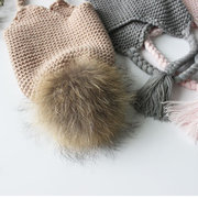 Kid Winter Beanie Hats Thicken Knitted Caps for Children with Pompom Fur Ball For 1Y-6Y