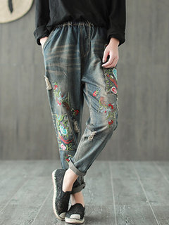 Embroidery Elastic Waist Pockets Casual Denim