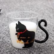 القط الزجاج الكرتون الأطفال كأس الإبداعية مقبض كأس قهوة واحدة طبقة شفافة كأس عصير الشراب