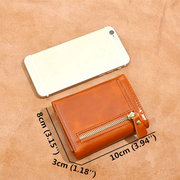 Women Trifold Genuine Leather Oil Wax Short Wallet 7 Card Slot Coin Purse