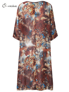 O-Newe Vintage Flower Printed Half Sleeve Dress For Women