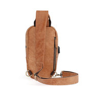 Men Genuine Leather Vintage Chest Bag USB Charging Interface Casual Crossbody Bag