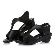 Large Size Front Zipper Peep Toe Casual Wedges Sandals
