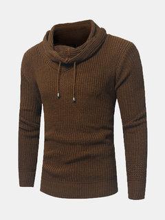 Suéter casual para hombre Cuello tejido de punto transpirable color sólido suéter cálido