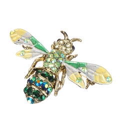 Fashion 18K Gold Pendant for Chain Honeybee Brooches Colorful Rhinestones Luxury Pins Gift for Women
