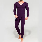Homens Modal Knitting Thermal Warmer Elastic manga comprida Pijama Set