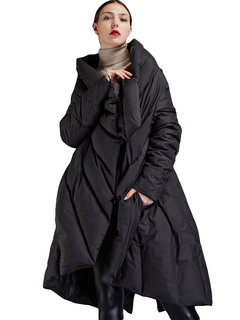 Lapel Irregular Hem Solid Color Loose Plus Size Long Down Coat