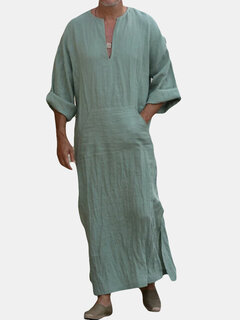 Mens Kaftan Vintage Loose V Neck Splits Long Dress Long Sleeve Tops Shirts