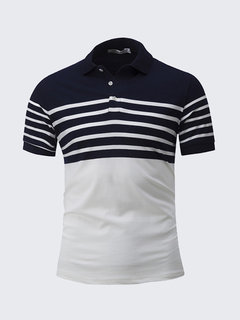 Men Summer Golf Camicia T-shirt manica corta con colletto rovesciato a stampa a righe