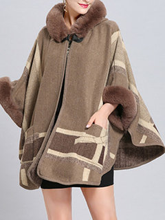 Elegant Poncho Faux Fur Hooded Coat