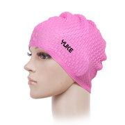 Womens Silica Gel Waterproof Non-slip Beanie Cap Flexible Earmuffs Wrap Long Hair Swimming Cap