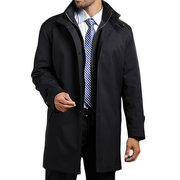 Mens Extraíble Liner Oversize Business Casual Solid Trench Coat Medio-largo Stand Collar Coat