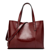 Women PU Leather Casual Handbag Large Capacity Tote Bag Solid Crossbody Bag