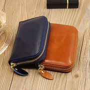RFID Anti-Theft Women Genuine Oil Wax Leather 10 Card Slot Card Holder Wallet