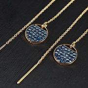 Trendy Dazzling Kristall Einfädler Ohrringe 925 Sterling Silber Gold Ohrring für Frauen Geschenk
