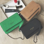 Women Chain Stylish Crossbody Bag Solid PU Leather Shoulder Bag