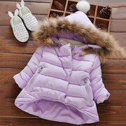 Solid Color Girls Thick Warm Coat With Big Fur Hat For 1Y-9Y