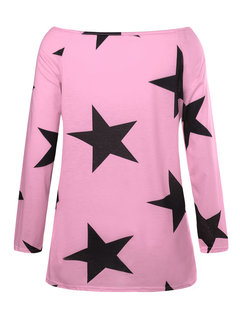 Casual Stars Print Off-shoulder Long Sleeve T-shirts For Women