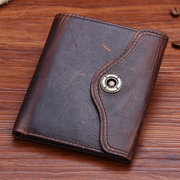 Retro Genuine Leather Multi-slots Trifold Wallet For Men