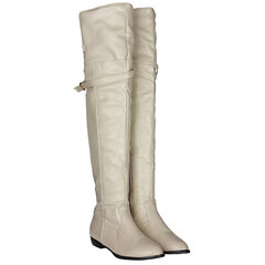 Winter Leather Over The Knee Round Toe Boots