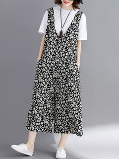 Wide Leg Floral Print Loose Sleeveless Casual Rompers