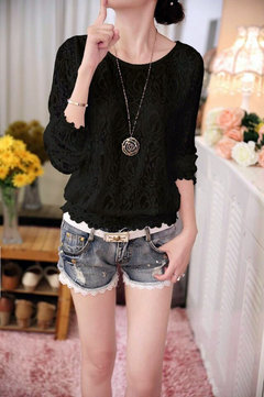 O-neck  Lace embroidery Hook flower hollow Loose Casual shirt