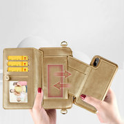 Women PU+ Leather Wallet Mobile Phone Case Multi-function Protective Crossbody Bag