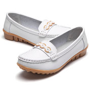 Metal Chain Beaded Slip On Soft Leather Casual Comfortable Flat Loafers