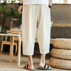 Мужские однотонные широкие брюки китайские стиль
