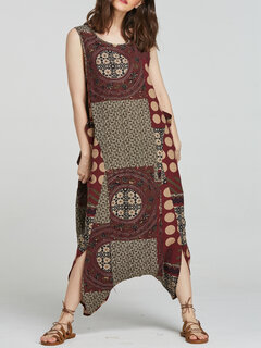 Ethnic Print Drop-crotch Side Pockets Sleeveless Jumpsuit