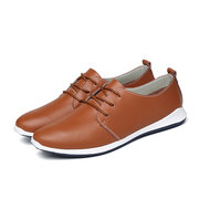 Big Size Men Leather Casual Flat Shoes Soft Lace Up Outdoor Driving Loafers
