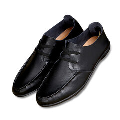 Men Leather Hollow Out Breathable Soft Comfortable Lace Up Casual Business Shoes