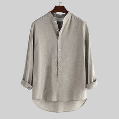 Mens V-neck Collar Casual Cotton Linen Long Sleeve T-shirts Outwear Tops