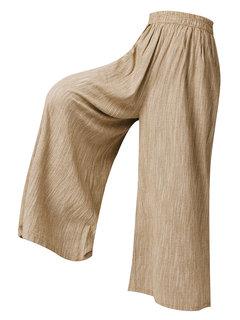 Винтаж Однотонная эластичная талия Свободная широкая нога Брюки с карманами