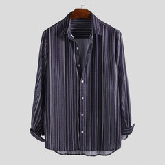 Mens Ethnic Stripe Printed Turn Down Collar Long Sleeve Casual Shirts