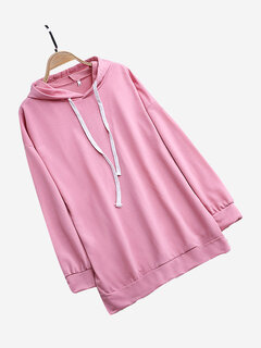 Solid Color Drawstring Mid-length Hooded Sweatshirts
