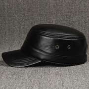Mens Sheepskin With Ventilation Holes Flat Top Hat Outdoor Military Exercise Warm Baseball Cap