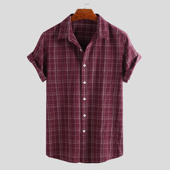 Mens 100% Cotton Plaid Thin Summer Short Sleeve Turndown Collar Casual Shirt