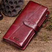 Vintage Stitching  Genuine Leather Wallet Card Holder Purse For Women