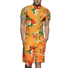 Mens Ethnic Style Dragon Blumendruck Umlegekragen Soft Jumpsuit Beachwear Anzug