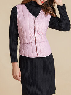 Women Casual Cotton Lined Solid Color Puffer V-neck Vest Coat