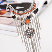 Vintage Statement Necklace Turquoise Geometric Chains Tassels Pendant Necklace for Women