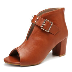 LOSTISY Rivets High Heel Peep Toe Stylish Buckle Pumps