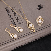 Trendy Jewelry Set Pearl Rhinestone Special Earrings Ring Necklace Set